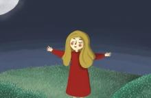 ילדה בשדה לאור הירח