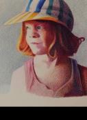 פורטרט ילדה אמנות ישראלית עפרונות צבעוניים