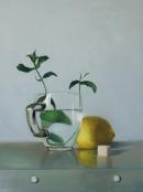 תה נענע עם לימון ציור שמן על בד טבע דומם אמנות ישראלית