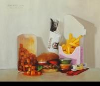 ציור המבורגר וציפס אוכל אמנות ישראלית