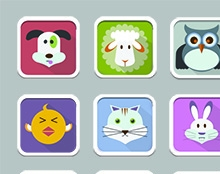 flat icons animals set
