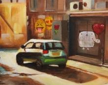 ציור שמן על בד אמנות ישראלית נוף אורבאני