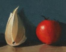 פקמן ציור שמן על בד אמנות ישראלית  טבע דומם
