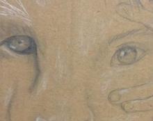 ילדה\ארייה, ציור על קרטון