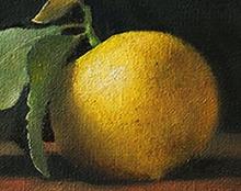 לימון ציור שמן על בד טבע דומם אמנות ישראלית