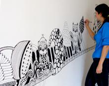 ציור קיר בית הצעירים תל אביב