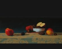 תפוחים ותמרים ציור שמן על בד אמנות ישראלית